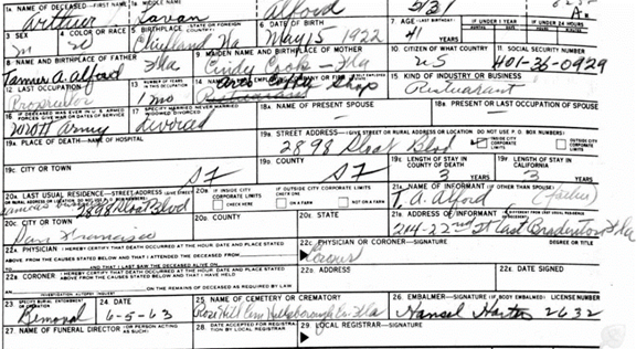 jackie l ford death certificate arkansas